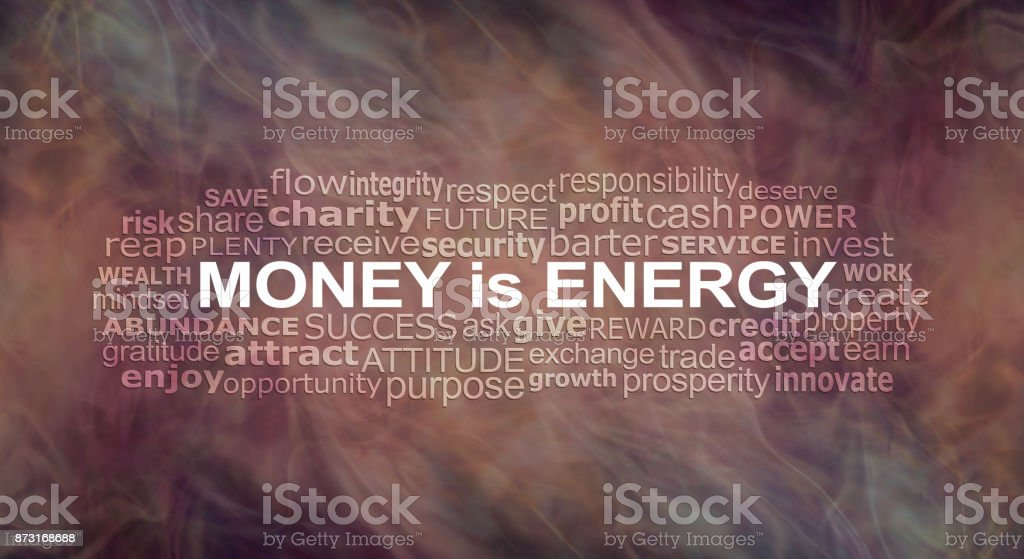 Money IS energy Word Cloud stock photo
