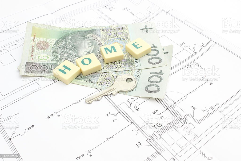 Money, key and word 'home' on the housing plan royalty-free stock photo