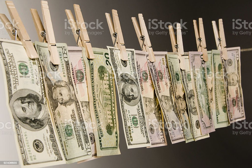 Money Laundering side view stock photo