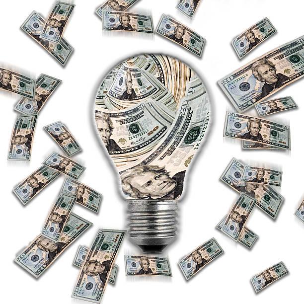 Money & Lightbulb stock photo