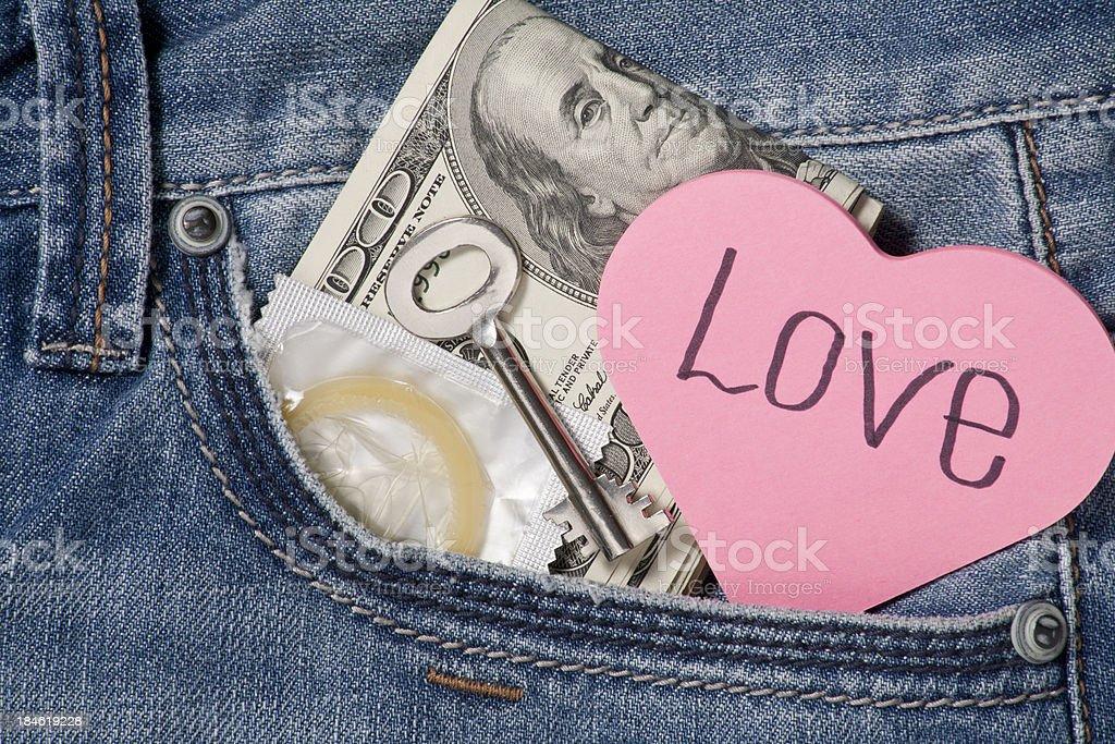 Money, love,home key and condom royalty-free stock photo
