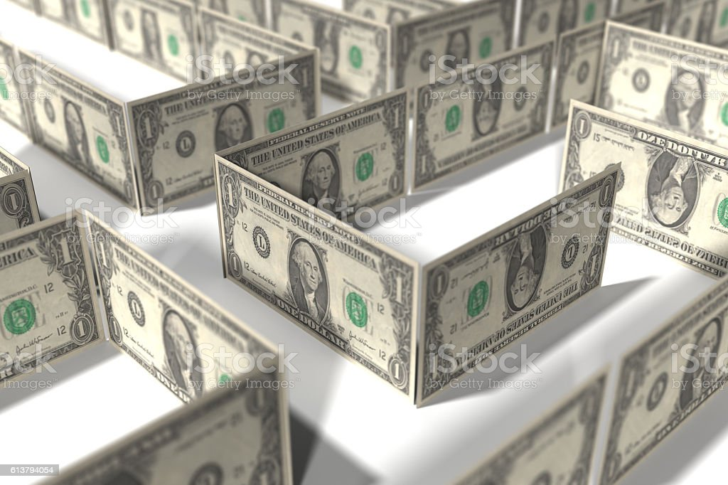 Money Maze - USA Dollar stock photo