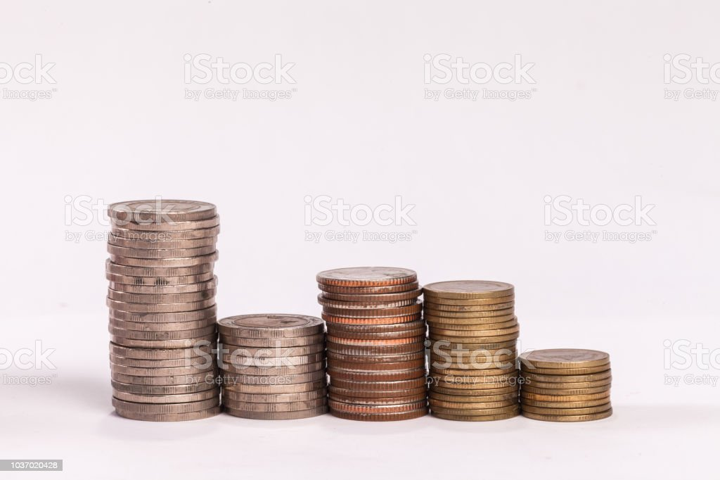 money medal of different types on white background stock photo