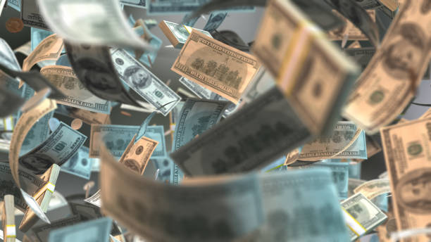 money notes flying Cash stock photo