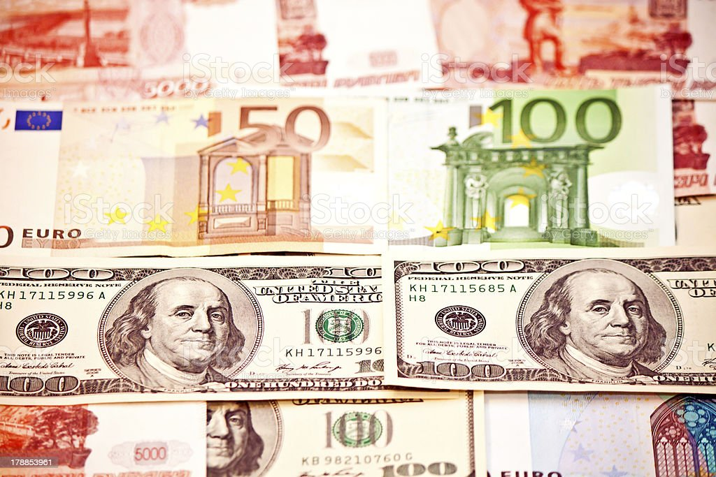 Money of different countries royalty-free stock photo