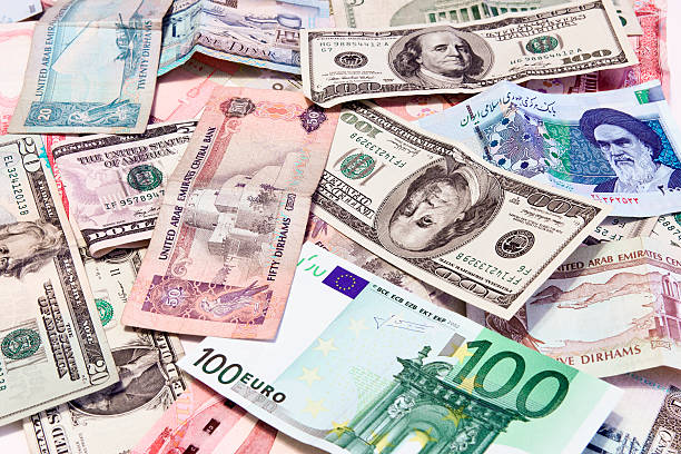 money of the world - kuwait currency stock photos and pictures