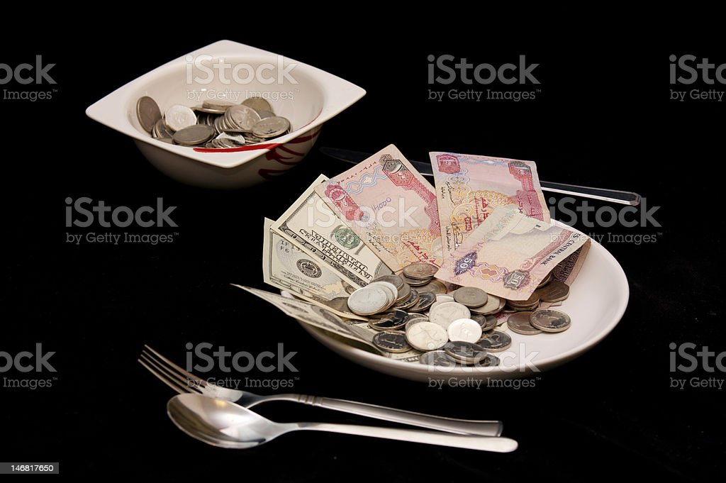 Money on a plate royalty-free stock photo