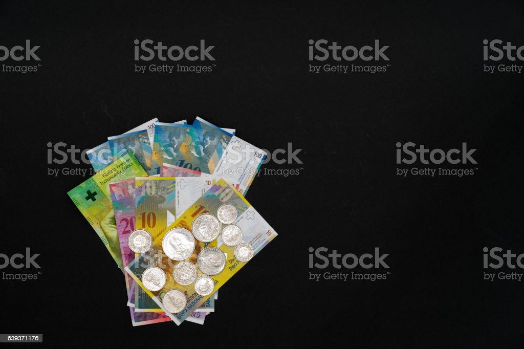Money on black background stock photo