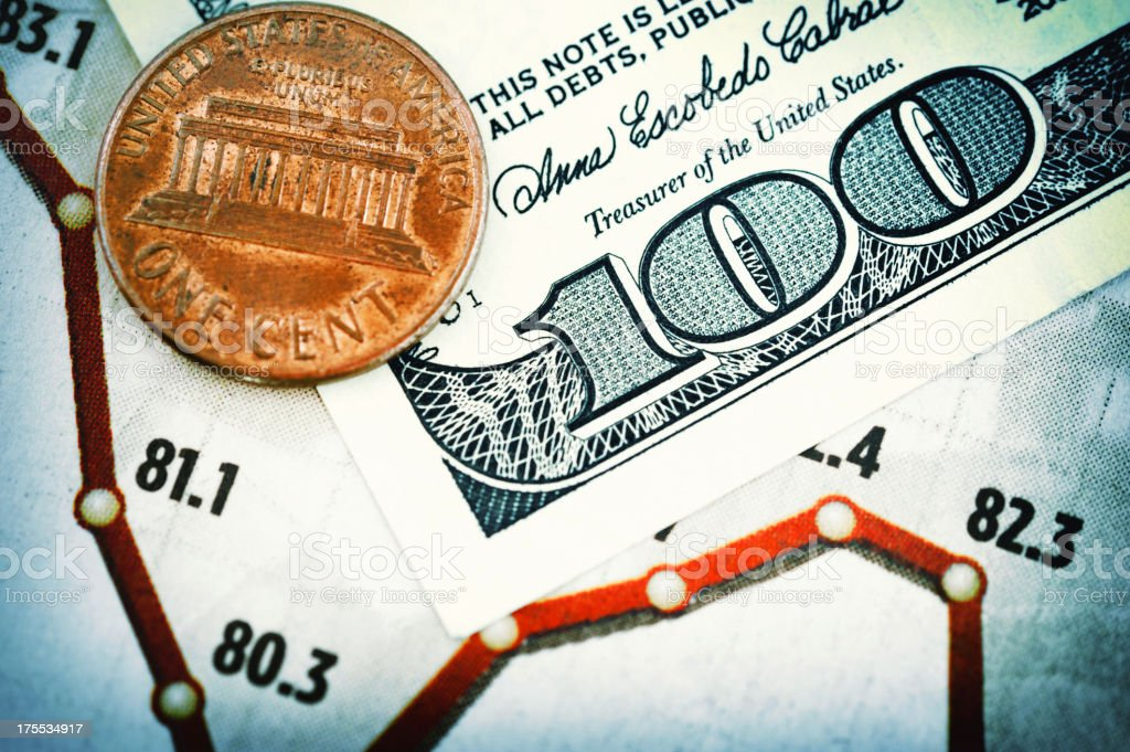 Money on financial page royalty-free stock photo