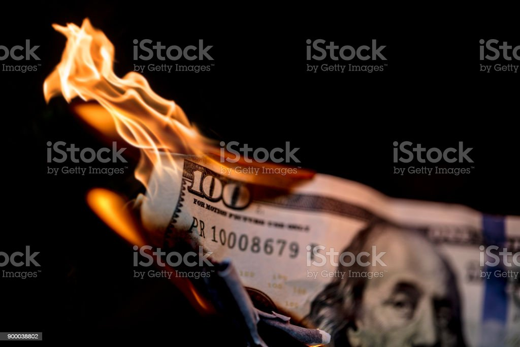 Money on Fire stock photo