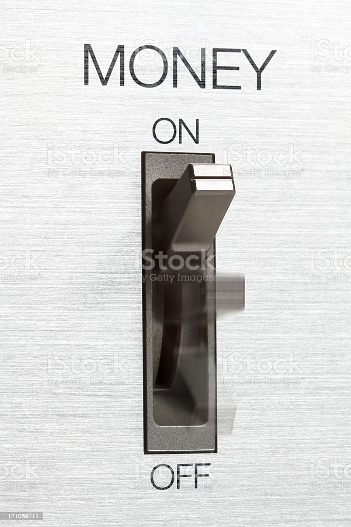 Money on off switch button royalty-free stock photo