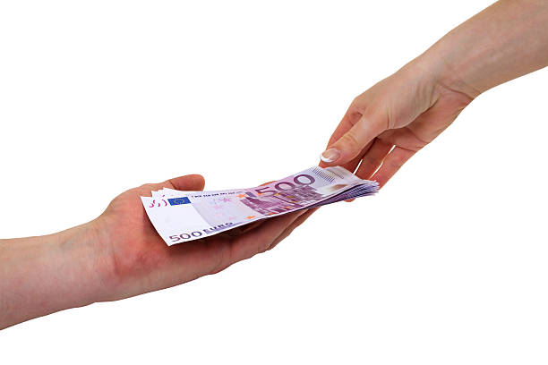 Money on the hands stock photo