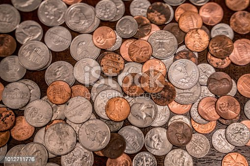 This is a shot of loose change on the table