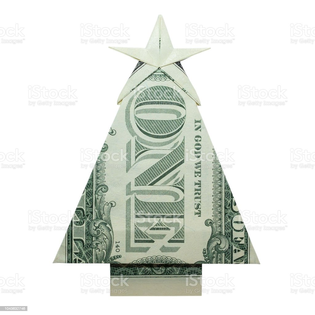 Dollar Bill Origami Christmas Tree: Money Origami Christmas Tree Folded With Real One Dollar