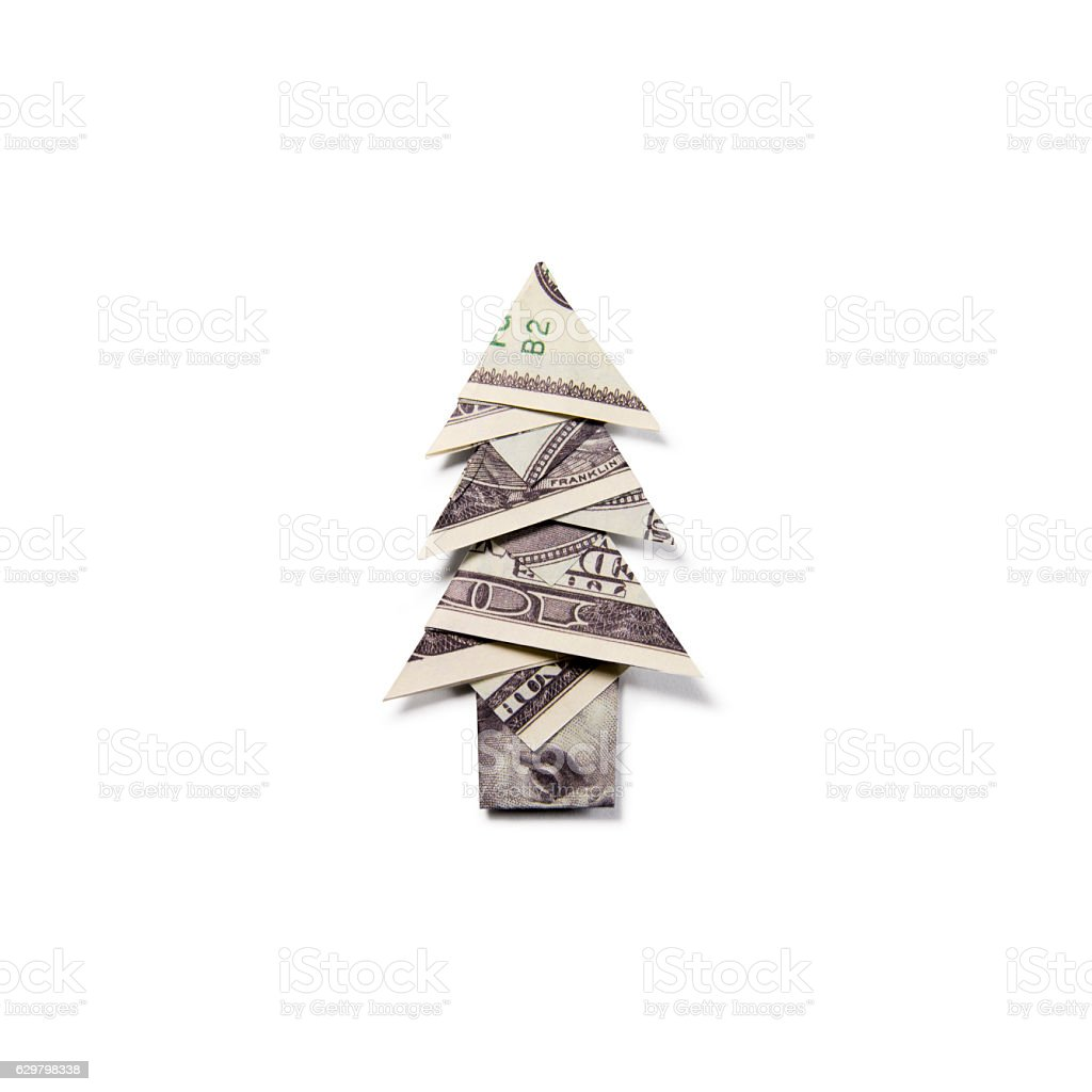 Image Of Dollar Bill Origami Christmas Tree How To Fold A Money
