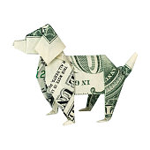 Money Origami DOG Folded with Real One Dollar Bill Isolated on White Background