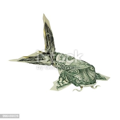 Money Origami KOI FISH Folded with Real One Dollar Bill Isolated on White Background