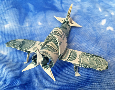 istock Money Origami Single Engine Military Aircraft WW2 Fighter Folded with 2 Real One Dollar Bills 1271994976