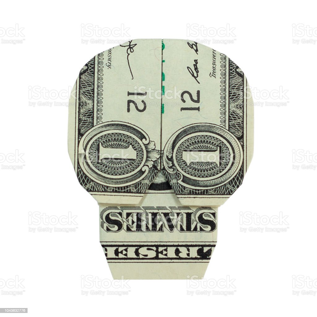 Money Origami Skull Folded With Real One Dollar Bill