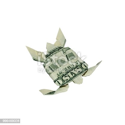 Money Origami Turtle Folded With Real One Dollar Bill Isolated On