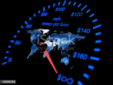 Finance speedometer Money per hour with earth map