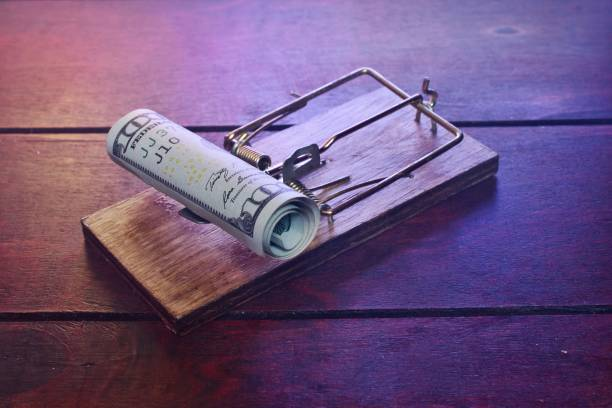 Money Money in a mousetrap trap stock pictures, royalty-free photos & images