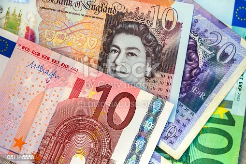 Group of Euro and Pounds Sterling banknotes, perfect for backgrounds.