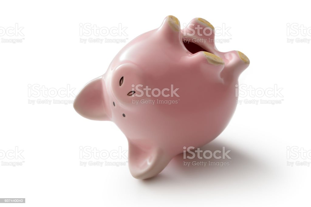 Money: Piggy Bank Upside Down Isolated on White Background stock photo