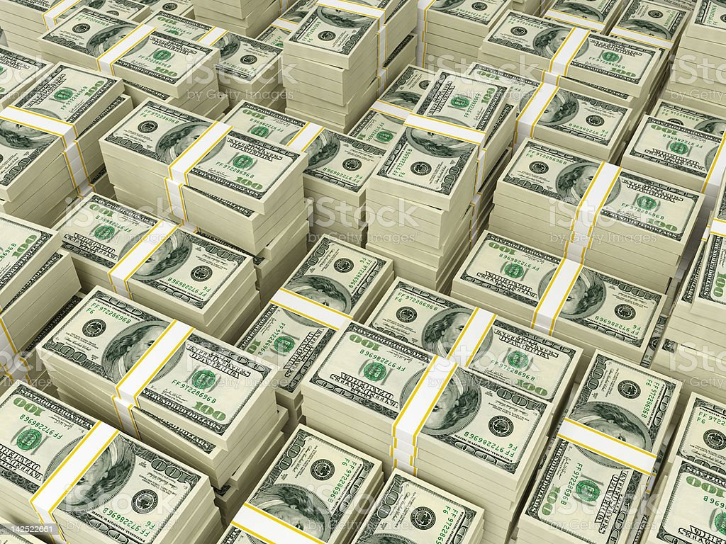 Money Pile $100 dollar bills Hundred dollar bills money pile.  American One Hundred Dollar Bill Stock Photo