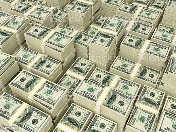 Money Pile 100 Dollar Bills Stock Photo - Download Image Now