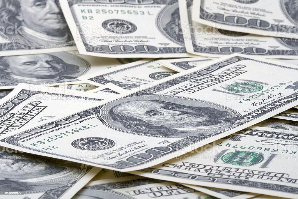 Money pile 100 dollar bills royalty-free stock photo