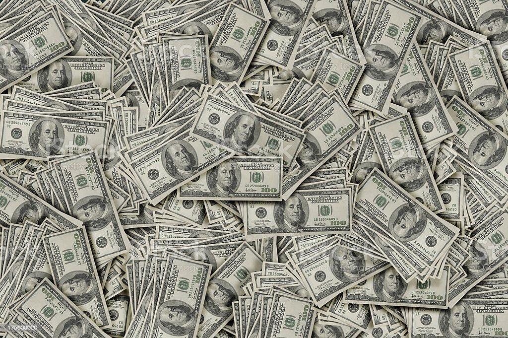 Money Pile $100 dollar bills stock photo