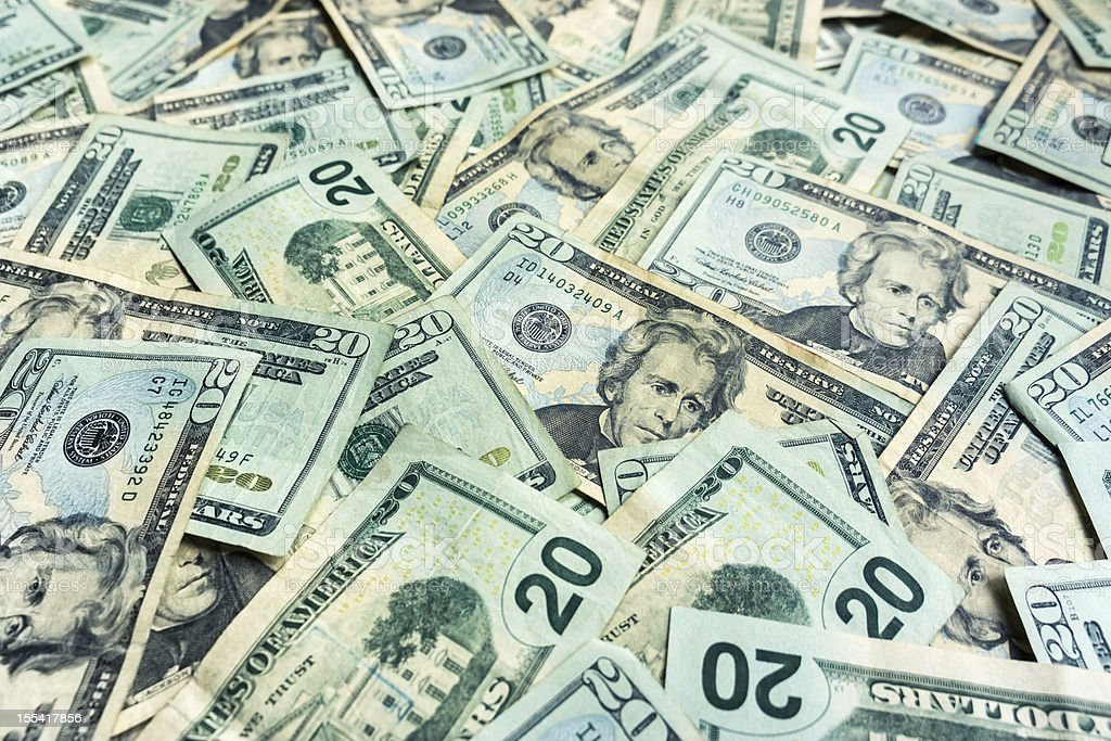 Money Pile $20 dollar bills stock photo