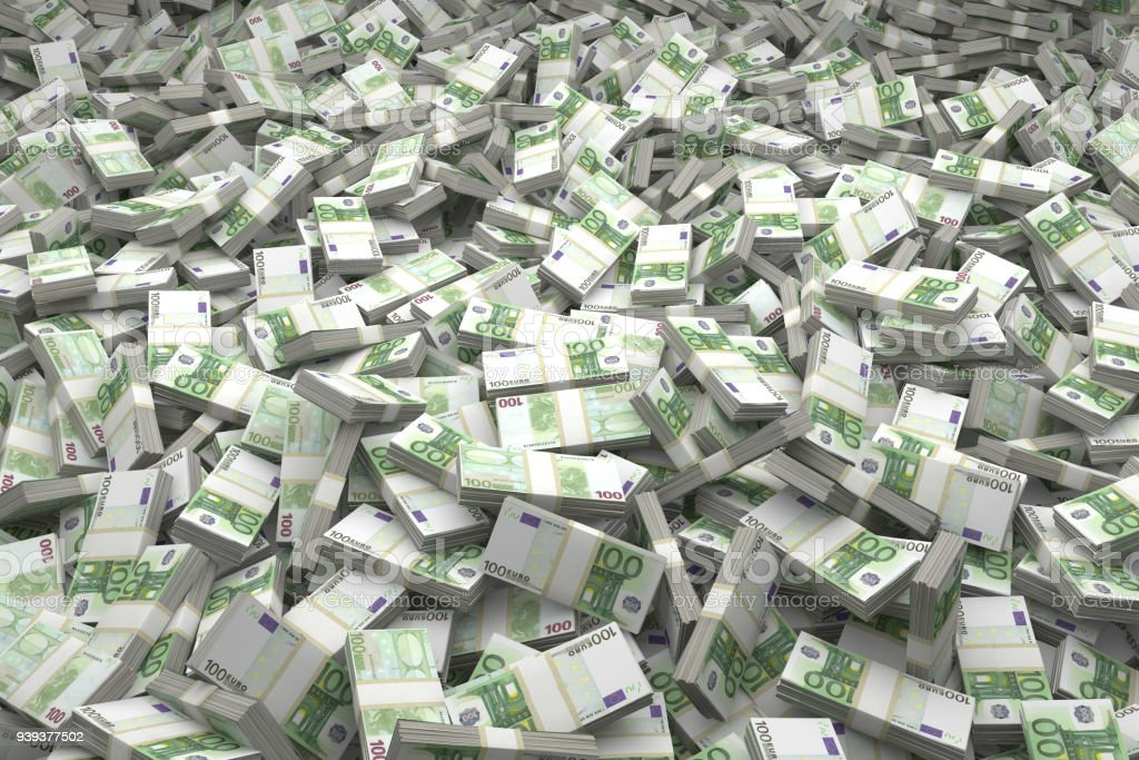 Money Pile Bundles of €100 Euro Notes stock photo