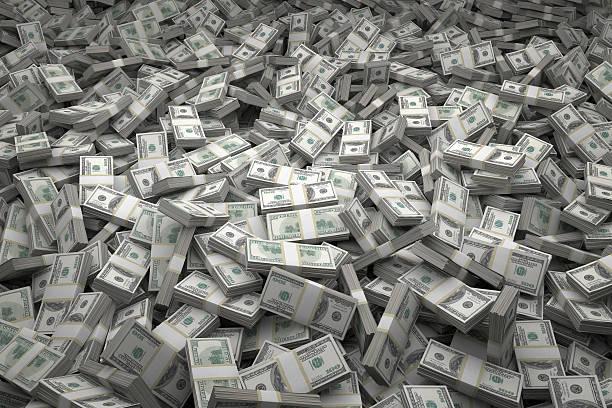 geld pile-pakete von 100 usd-hinweise - haufen stock-fotos und bilder