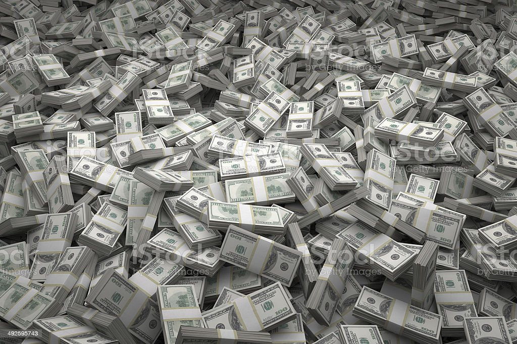 Money Pile Bundles of $100 USD Notes stock photo