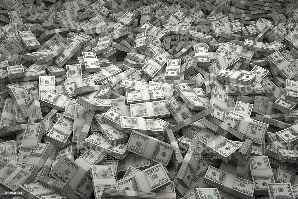 Money Pile Bundles of $100 USD Notes stock photo