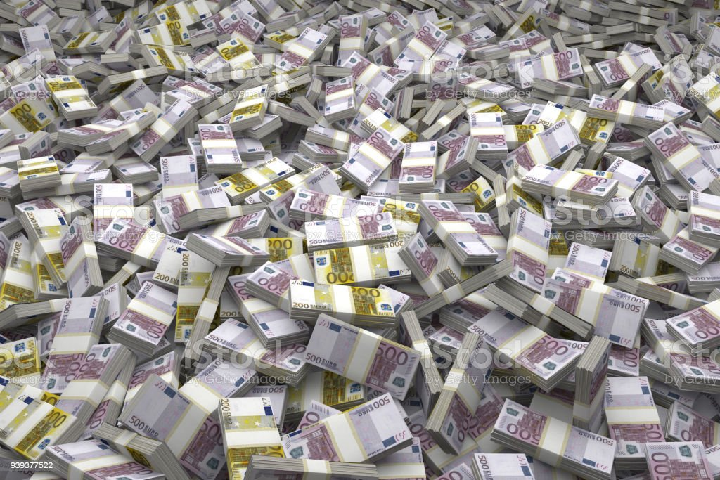 Money Pile Bundles of €200 & €500 Euro Notes stock photo