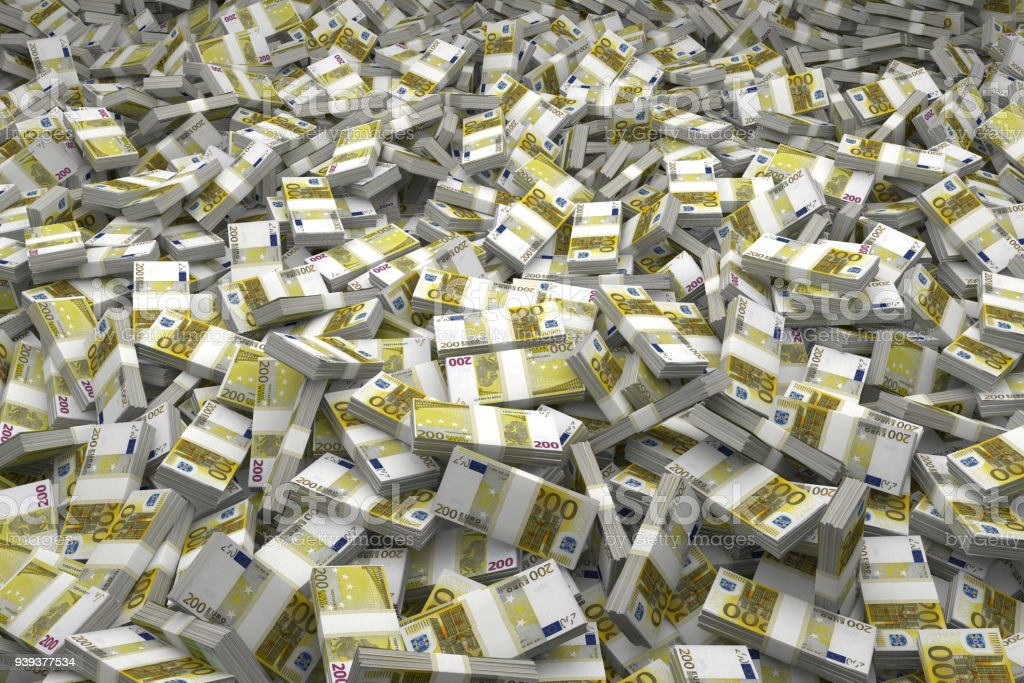 Money Pile Bundles of €200 Euro Notes stock photo