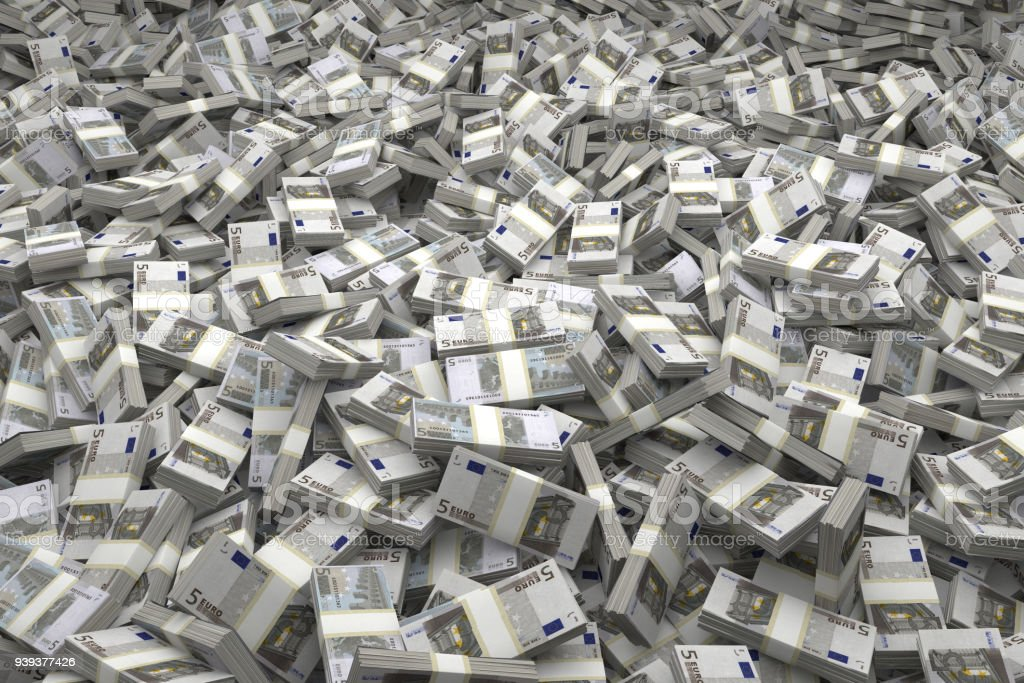 Money Pile Bundles of €5 Euro Notes stock photo