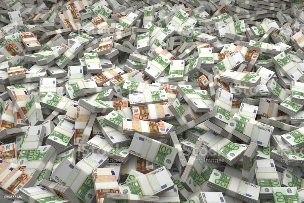 Money Pile Bundles of €50 & €100 Euro Notes stock photo