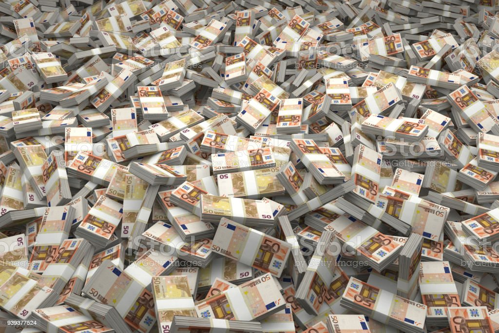 Money Pile Bundles of €50 Euro Notes stock photo