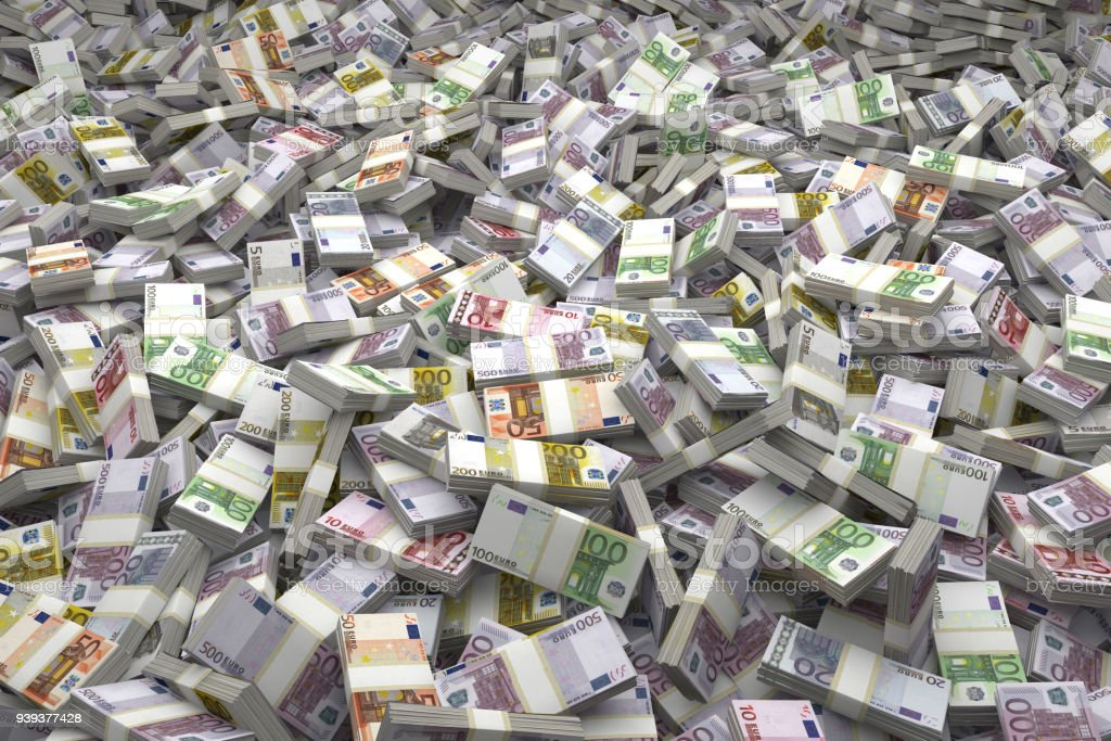 Money Pile Bundles of €500, €200, €100, €50, €20, €10, €5 Euro Notes stock photo