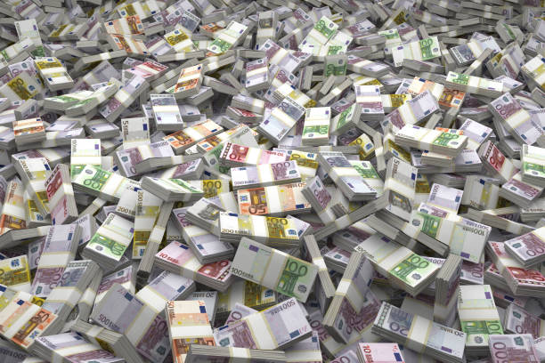 Money Pile Bundles of €500, €200, €100, €50, €20, €10, €5 Euro Notes Money Pile Bundles of Euro Notes laid out in a massive pile. Millions and Millions of Euros. euro symbol stock pictures, royalty-free photos & images