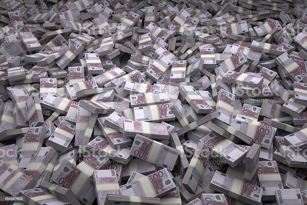 Money Pile Bundles Of 500 Euro Notes Stock Photo