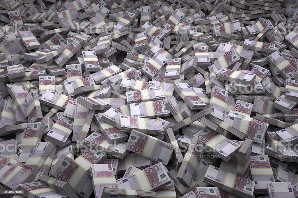 Money Pile Bundles of €500 Euro Notes stock photo
