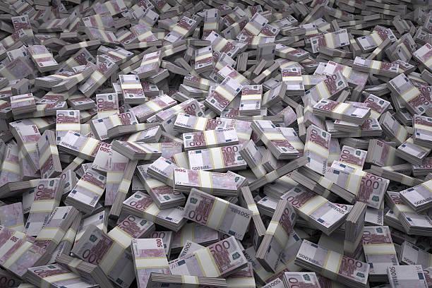Money Pile Bundles of €500 Euro Notes stock photo