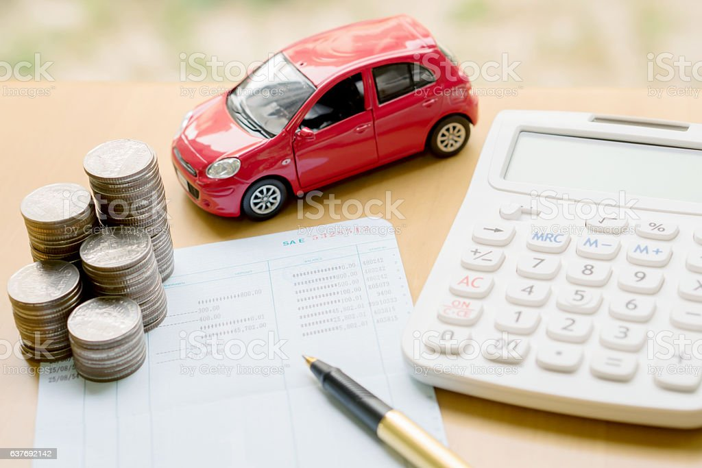 money, pile coin with account book and car, concept – Foto