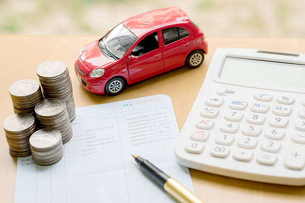 money, pile coin with account book and car, concept stock photo
