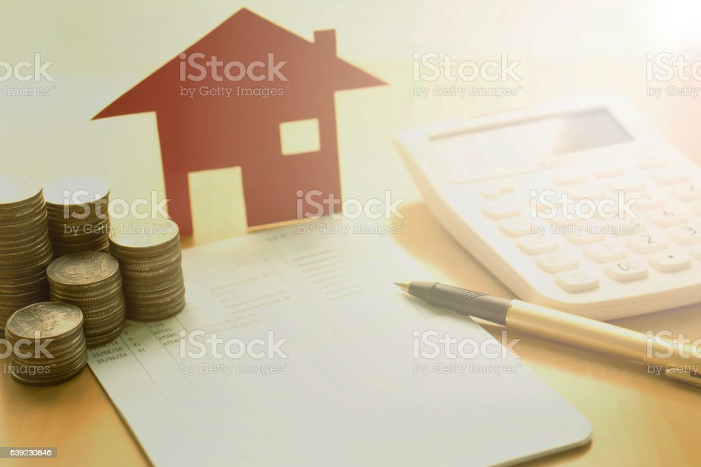 money, pile coin with saving book and paper home,concept – Foto